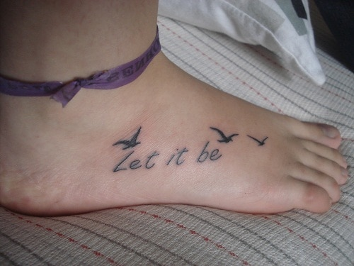 Let it be Small Bird on Foot Tattoo