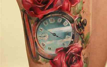 48d93ac167441 Feather Flowers Clock Tattoo   Gardening: Flower and Vegetables