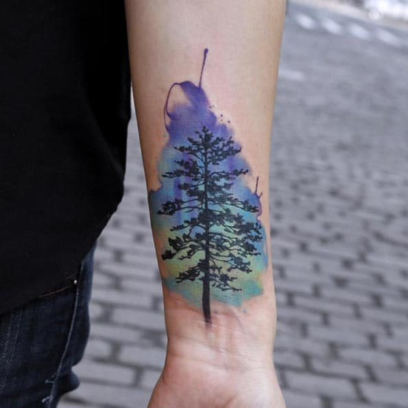 Watercolor Tree Tattoo by Joice Wang