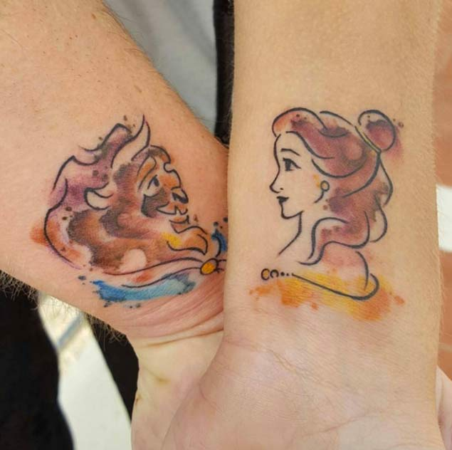 Matching Disney Couple Tattoos