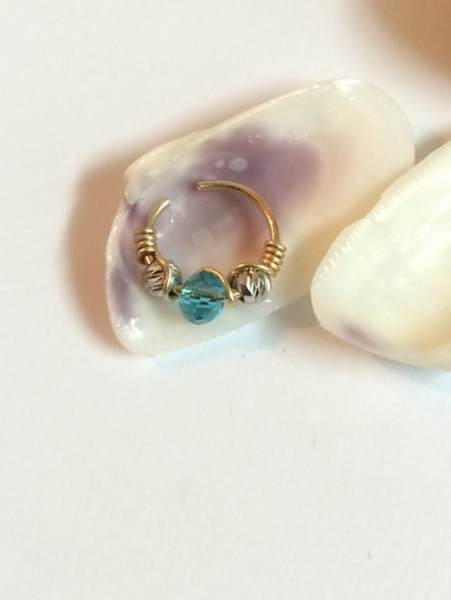Handmade Gold Filled Helix Piercing with Blue Crystal Beads