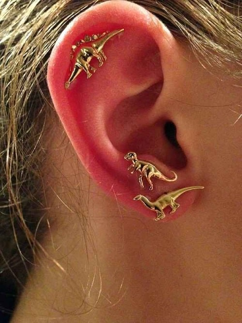 Gold Dinosaur Helix Earring Jurassic Inspiration