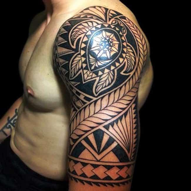 tribal-turtle-tattoo-sleeve