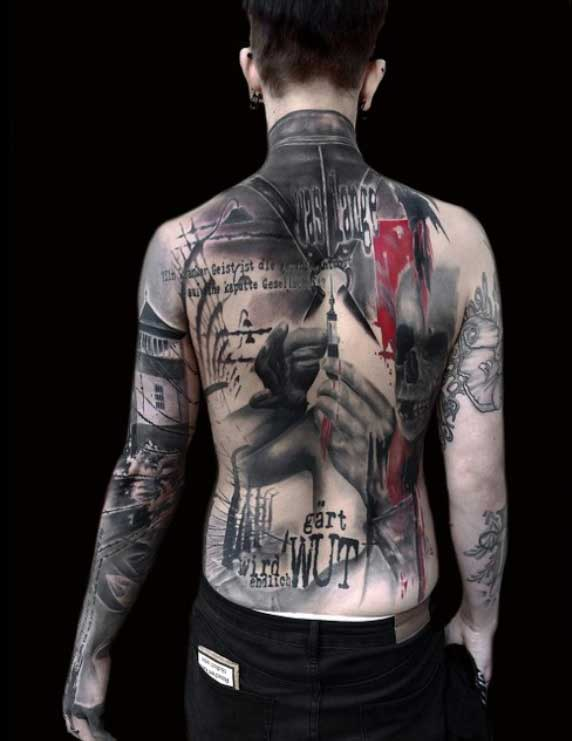 trash polka back tattoo