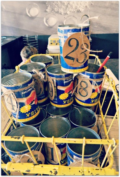 Love this! Table numbers from tomato tins. Genius.