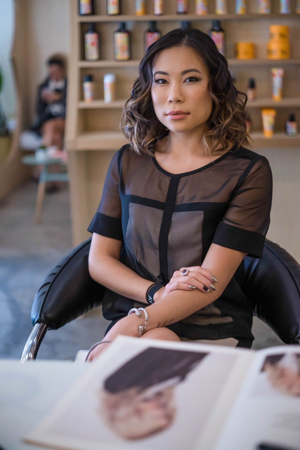 Kasey Ma, influencer and blogger of The StyleWright getting her hair done at Amika Styleblow in Brooklyn