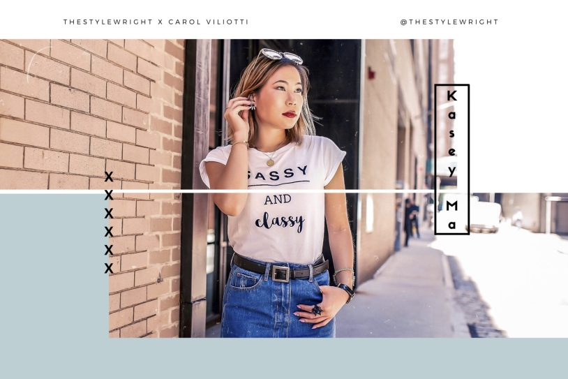 nyfw 2018 New York Fashion Week Carol Viliotti TheStyleWright ISTI Clutch Sugarhigh Denim Skirt White Tee Color bLock Heel Sequin Jewelry Daniel Wellington Yay Sunshine Fashion Blogger Sassy and Classy Logo Tee