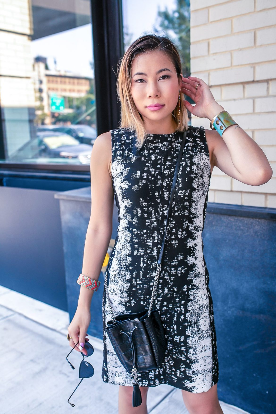 Dan liu classic shift dress getty images nyfw new york fashion week 2018 sequin jewelry ysl saint laurent vye eyewear sunglasses cateye loren hope bracelet croc embossed bucket bag etienne aigner sandal block heel suede
