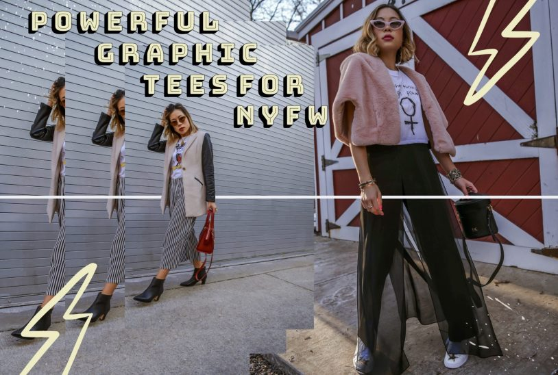 Fashion blogger/influencer Kasey Ma of TheStyleWright pairs a Mother Fucking Girl Power crop white tee by Vibrate Higher with Elie Tahari sheer pants and Shein star white sneakers for New York Fashion Week 2019 day 4