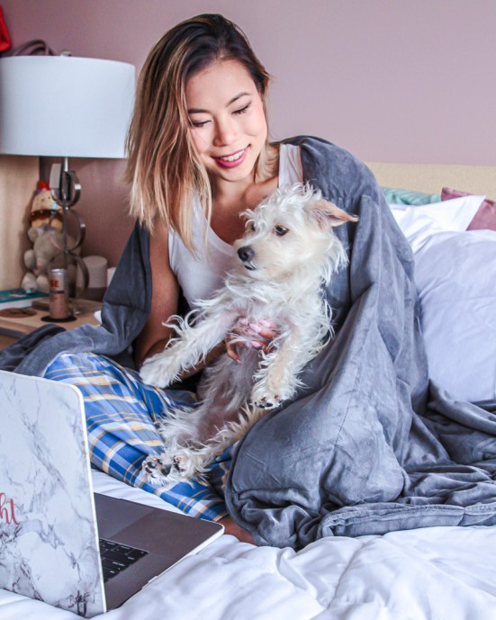 Memorial Day 2019 Sales. Kasey ma of thestylewright with her dog, Nala and her computer getting ready to shop