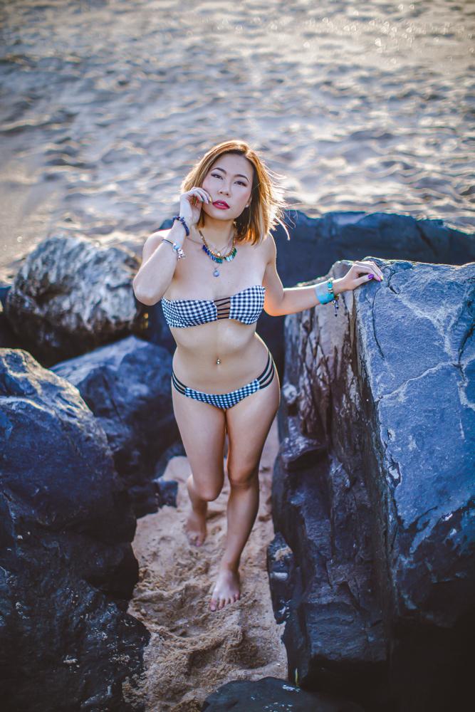 Kasey Ma of The StyleWright Wears Yandy Gingham Halter Bikini Summer Swimsuits