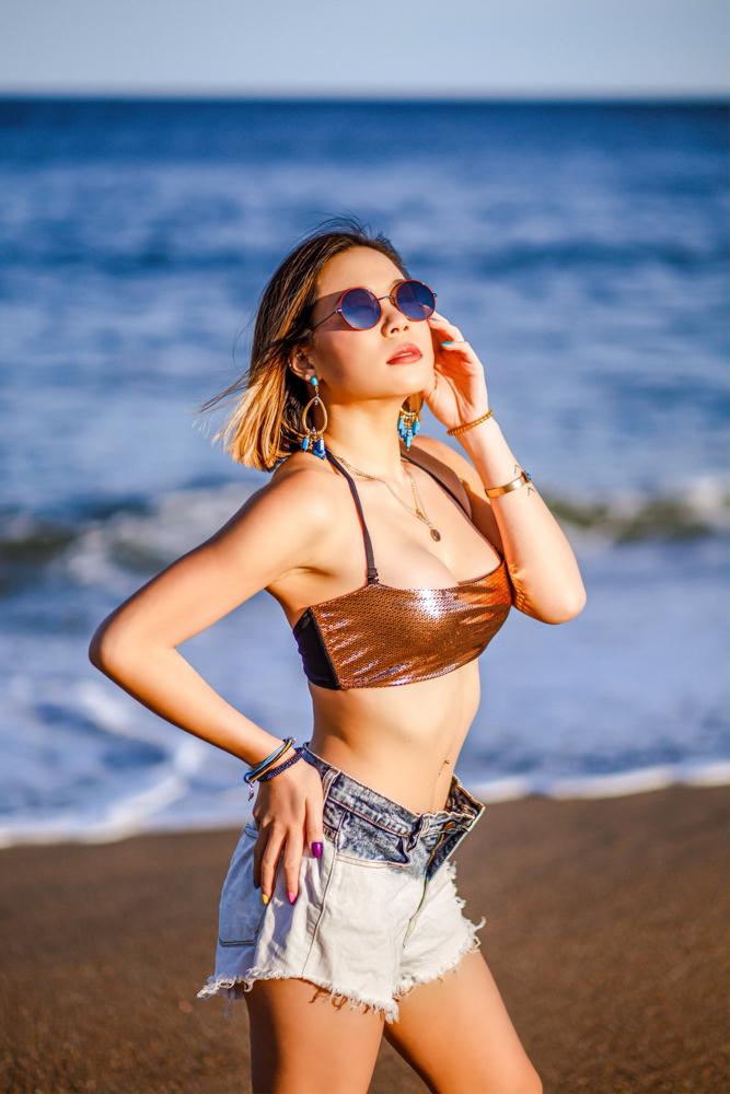 Kasey Ma of The StyleWright Wears Yandy The Mariah Metallic Bikini Summer Swimsuits