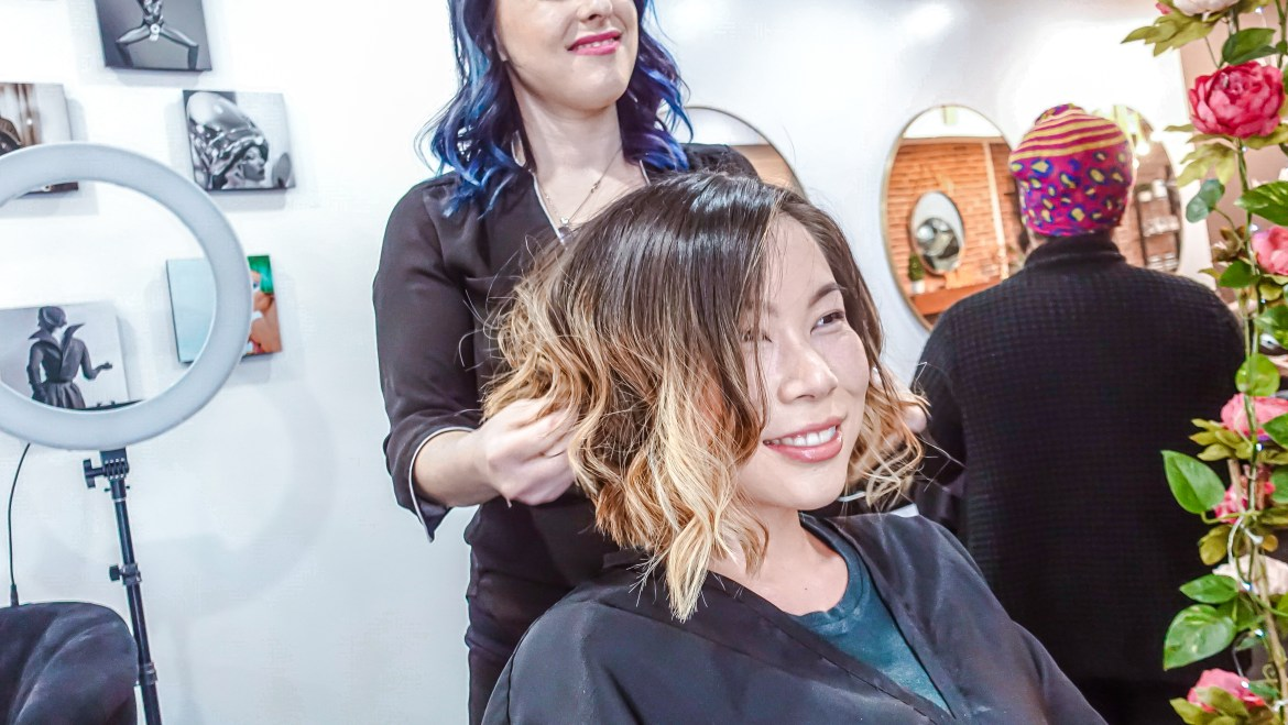 Kasey Ma of The StyleWright gets hair done by hair stylist