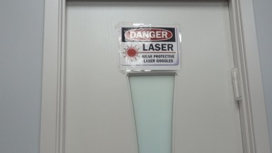warning sign for laser treatment