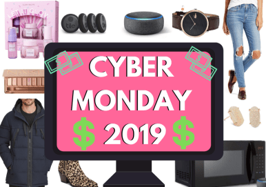 Cyber Monday 2019 graphic with products from the cyber monday blog post