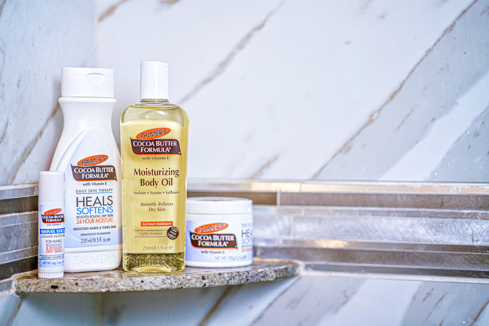 Palmer's Cocoa butter formulated products including the Moisturizing body oil, body lotion, and swivel stick