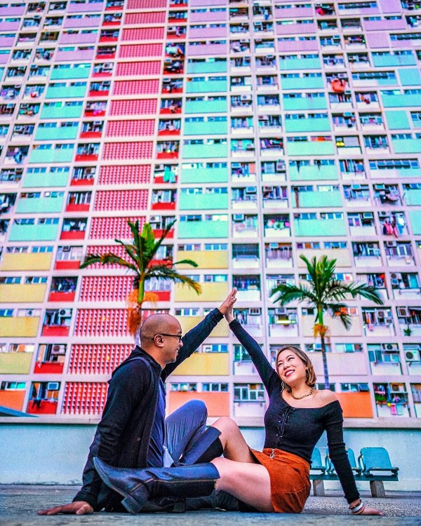 Kasey Ma and her boyfriend Jay at the Choi Hung Estate in Hong Kong