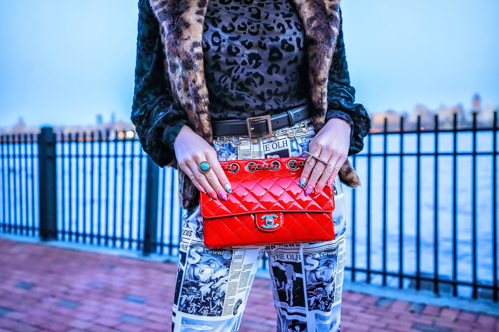 Kasey Ma showing off her Red Vintage Chanel Bag!