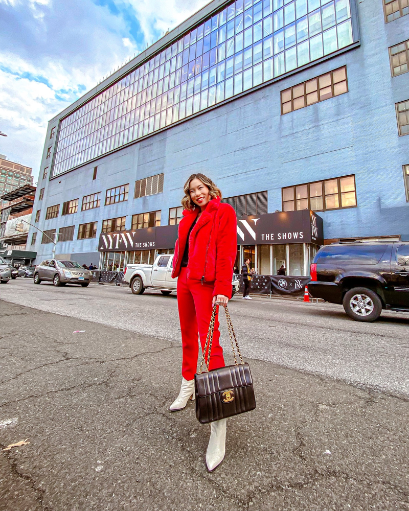 Kasey Ma of TheStyleWright Wearing Rebecca Minkoff Faux Fur Coat as she heads to NYFW 2020