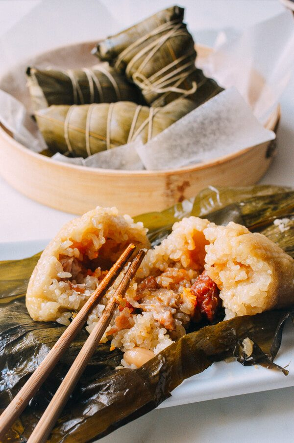 hong kong and cantonese styled jung sticky rice wrapped in banana leaves
