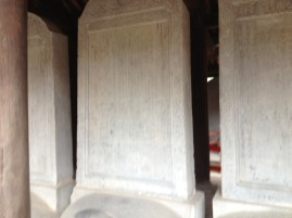 These tombs were held by tortoises for longevity. When students passed exams, their names were put on them. One ruler scrubbed them clean and started over during his ruling.