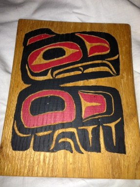 From Rosanne: Here is a version of an eagle carving. I made this one myself from a design in the book The Bentwood Box by Nan McNutt, published by Sasquach Books. It is another example of the form line style of art common to many tribes of the Pacific Northwest. Nan McNutt also has a book about Button Blankets and Twined Baskets. All are designed specifically for use with grade school children.