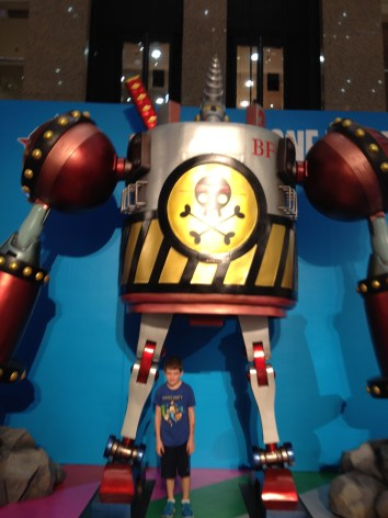 Hello robot, kiddo annoyed, told he couldn't touch.