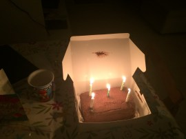 Cake lit up...