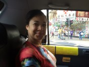 Heading to airport in a taxi...