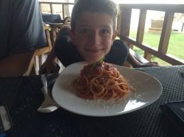 Kiddo LOVED his noodles...