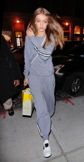 January 26, Grey Olivia von Halle cashmere tracksuit, white crossbody and white M.Gemi sneakers