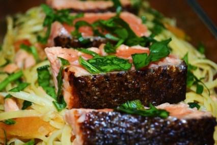 Seared Salmon with Light Cream Linguini