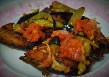 Eggplant and Tomato Tagine on Deep Fried Milkfish
