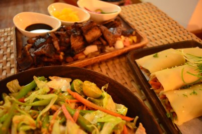 Pancit Canton, Lupiang Sariwa and Grilled Liempo