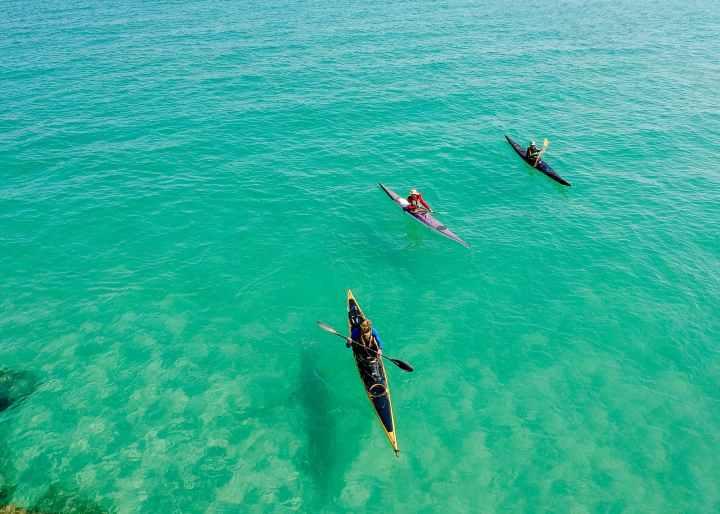 three yellow and pink kayak