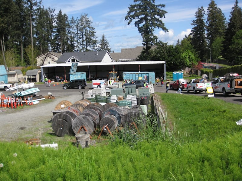 Outside Steilacoom's Public Works building on the last weekend of April was like a fast-food drive-up window as town residents kept up a steady pace of dropping off materials to be recycled at the town's annual event.
