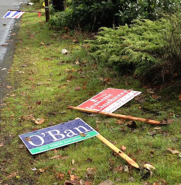 Vandals attack competition signs.