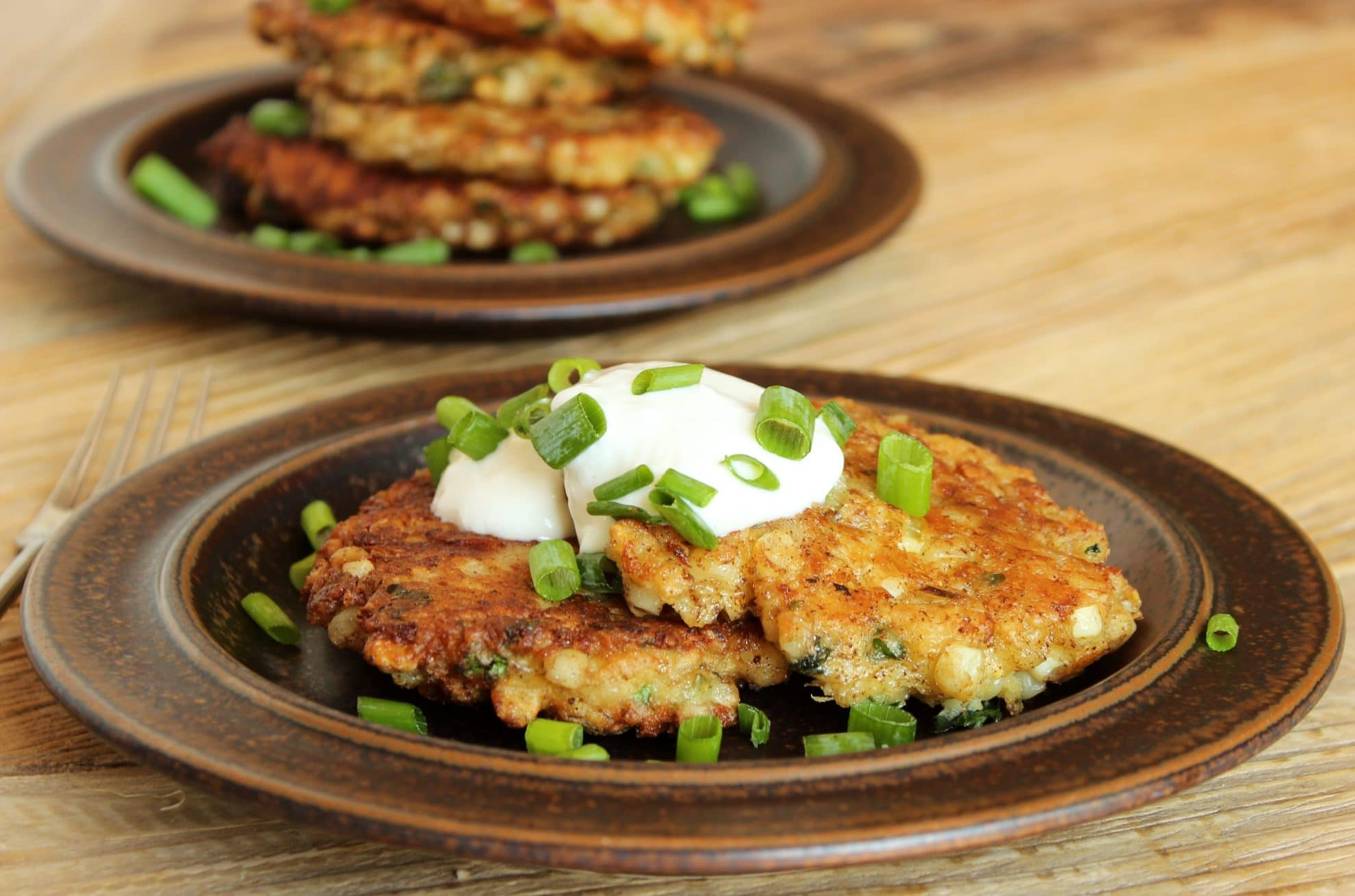 Corn, White Cheddar and Basil Fritters
