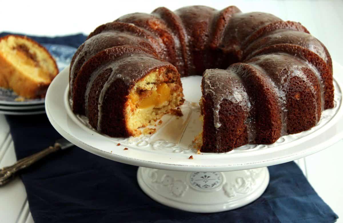Peach Streusel Bundt Cake