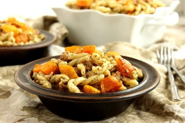 Butternut, Sausage and Sage Pesto Pasta
