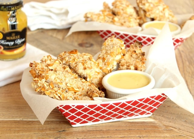 Pretzel Crusted Chicken Fingers with Apple Cider Honey Mustard Sauce