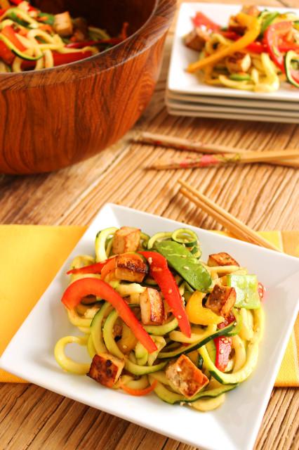 Asian Style Zucchini Noodle Salad with Baked Tofu   The Suburban Soapbox