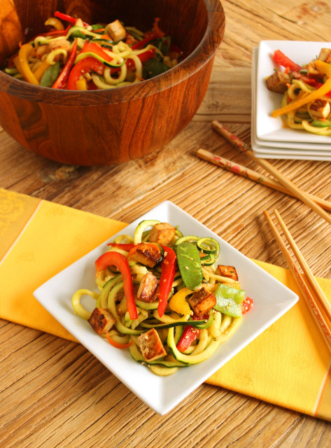 Asian Style Zucchini Noodle Salad with Baked Tofu | The Suburban Soapbox