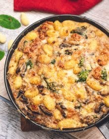 Overhead shot of Baked Gnocchi in a skillet.