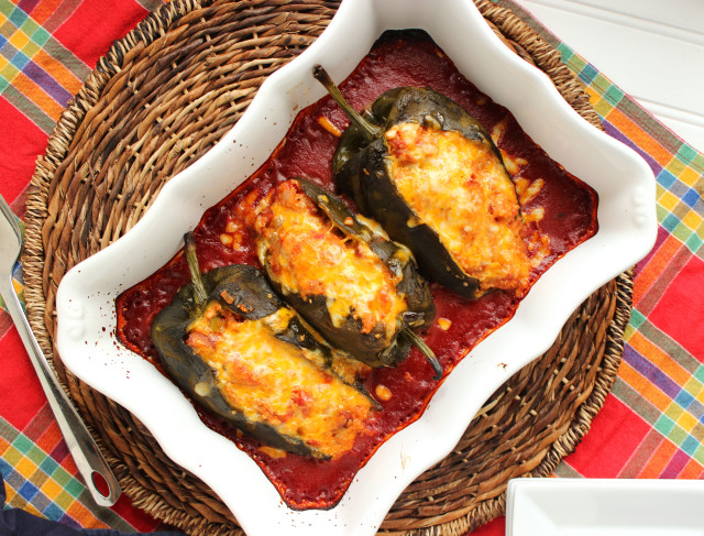 Cheesy Andouille and Quinoa Stuffed Poblano Peppers | The Suburban Soapbox