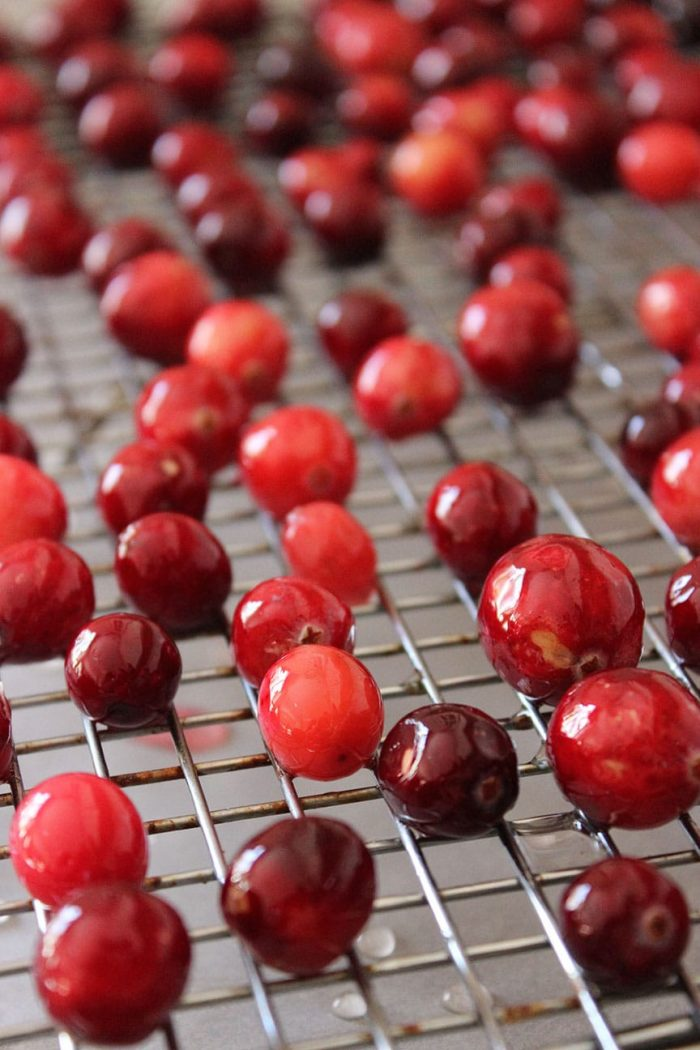 cranberries drying on a rack