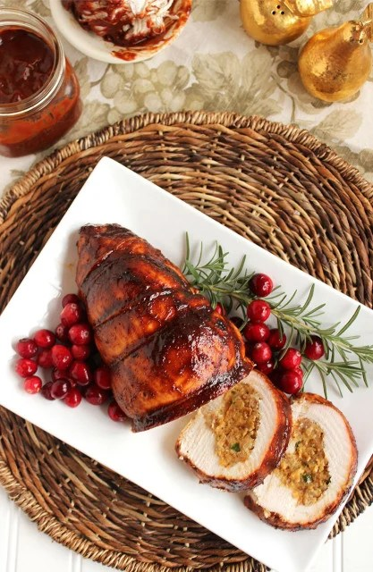 Spicy Cornbread-Sausage Stuffed Turkey Roulade with Cranberry Barbecue Sauce | The Suburban Soapbox