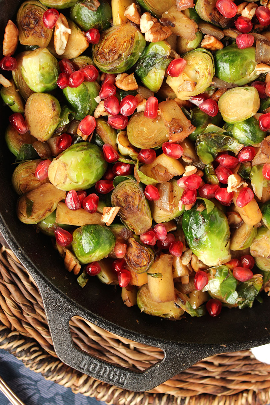 Skillet Brussels Sprouts with Apples, Pecans and Pomegranate