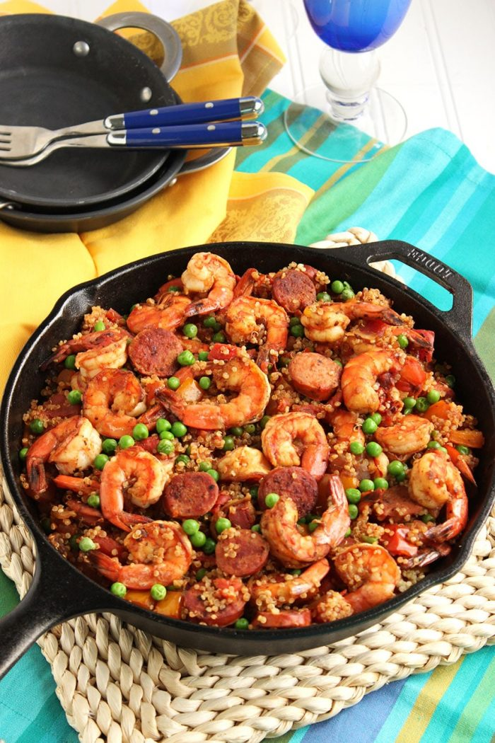 Shrimp and Chorizo Paella with Quinoa | The Suburban Soapbox #skillet #dinner