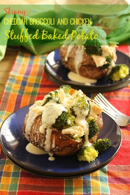 Skinny Cheddar Broccoli and Chicken Stuffed Baked Potatoes | The Suburban Soapbox #bakedpotato #quickdinnerrecipe